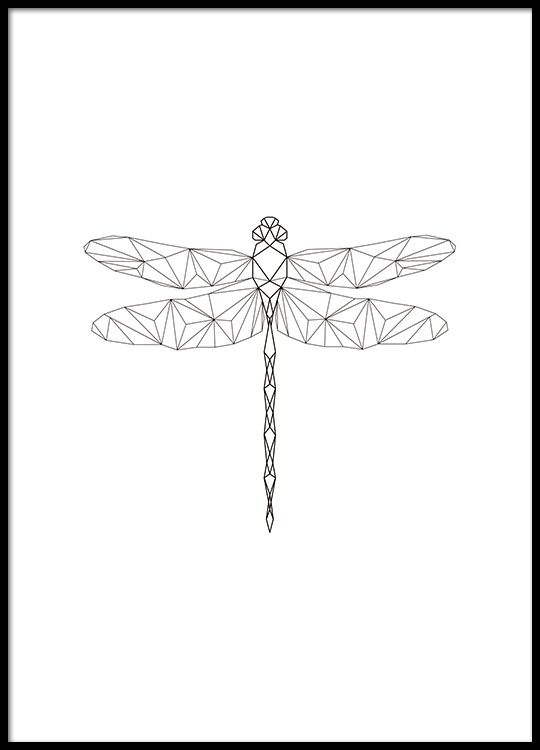 geometrisches poster mit libelle schwarz wei. Black Bedroom Furniture Sets. Home Design Ideas