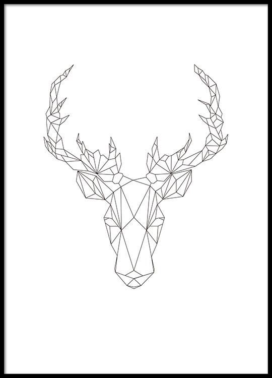 geometrisches poster mit illustration in schwarz wei poster online. Black Bedroom Furniture Sets. Home Design Ideas
