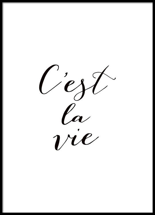 typografie poster mit franz sischem zitat schwarz wei. Black Bedroom Furniture Sets. Home Design Ideas