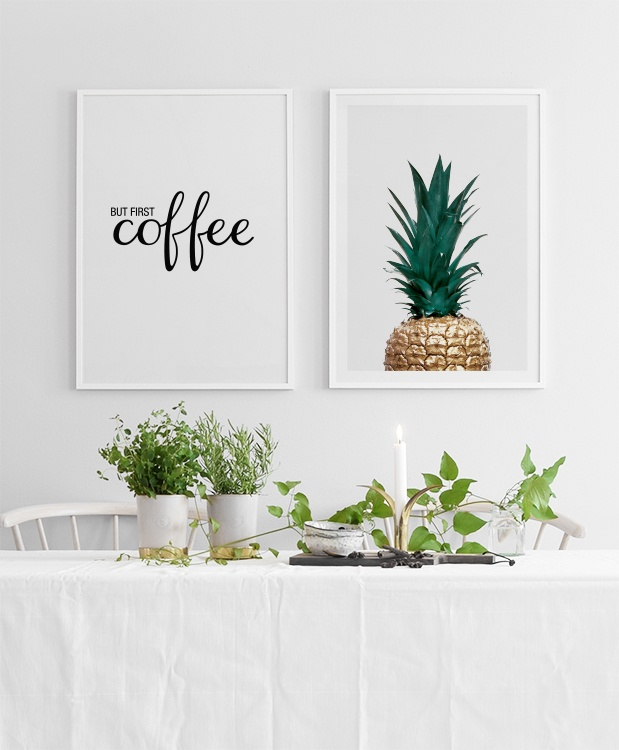 poster mit text but first coffee k chenposter und poster f r die k che. Black Bedroom Furniture Sets. Home Design Ideas