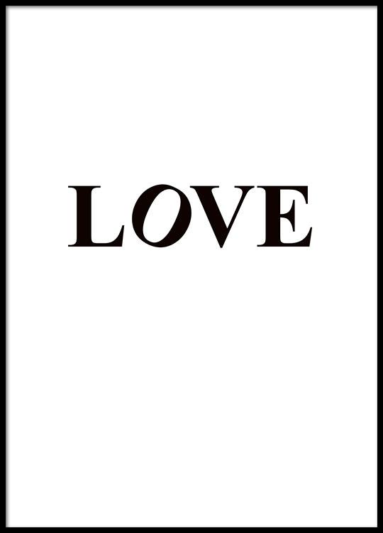 schwarz wei es typografie poster mit dem wort love. Black Bedroom Furniture Sets. Home Design Ideas