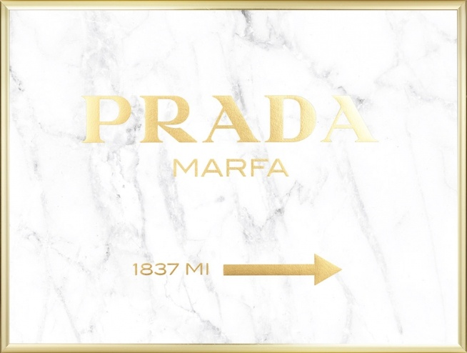 poster prada marfa mit goldtext auf marmor poster online. Black Bedroom Furniture Sets. Home Design Ideas
