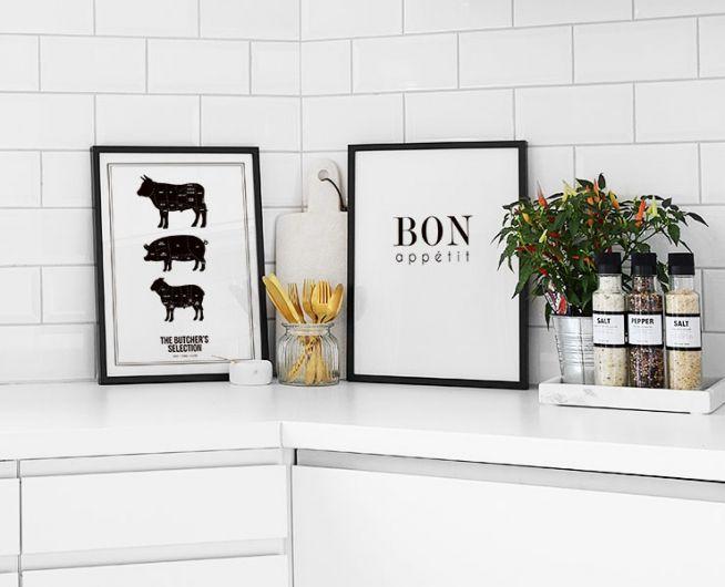 plakat mit fleischzuschnitten butchers selection poster f r die k che. Black Bedroom Furniture Sets. Home Design Ideas