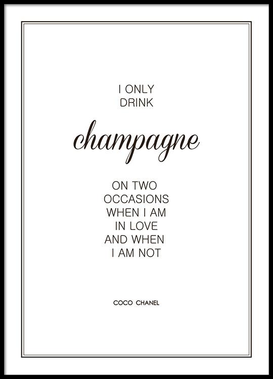champagne poster mit zitat von chanel poster online. Black Bedroom Furniture Sets. Home Design Ideas