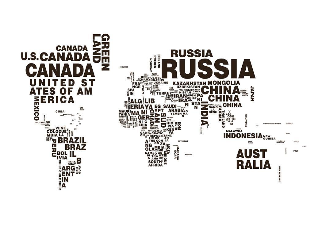 Poster mit Weltkarte | Plakate mit Karten und Stadtplänen | Schwarz ...