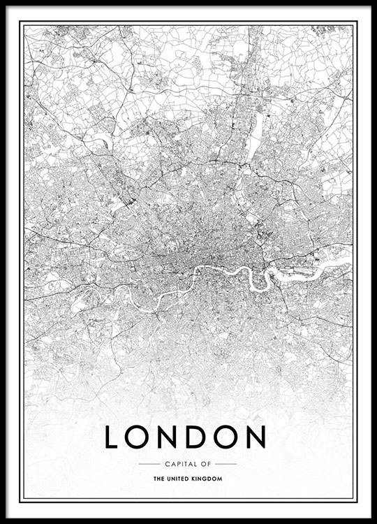 poster mit london karte schwarz wei poster mit st dten. Black Bedroom Furniture Sets. Home Design Ideas