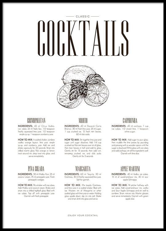 Poster Fur Die Kuche Mit Cocktail Rezepten Stilvolle Kuchenposter