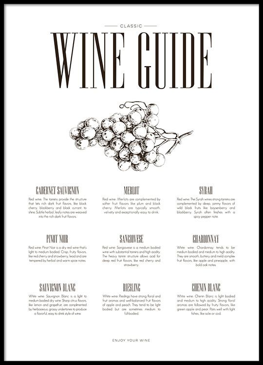 Poster Für Die Küche Wine Guide, Schöne Schwarz Weiße Poster