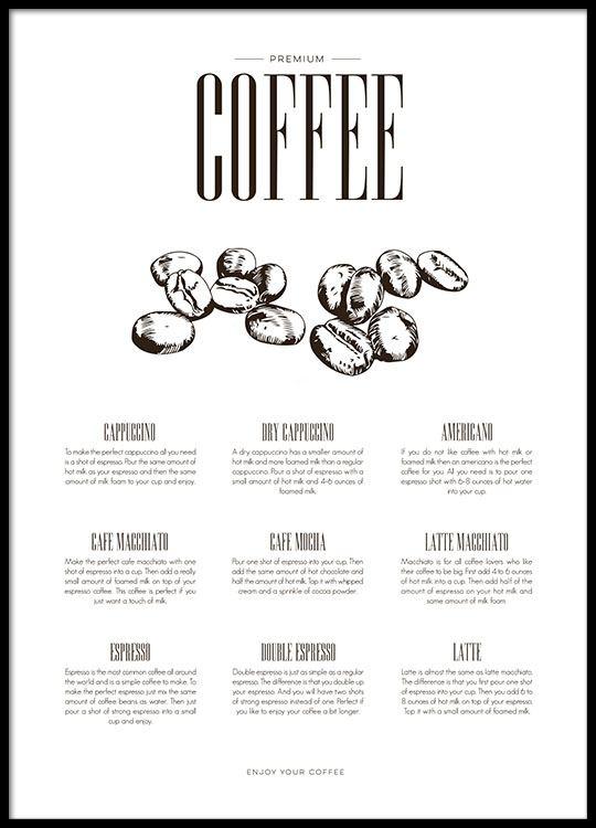 plakat f r die k che ber kaffee poster online kaufen. Black Bedroom Furniture Sets. Home Design Ideas