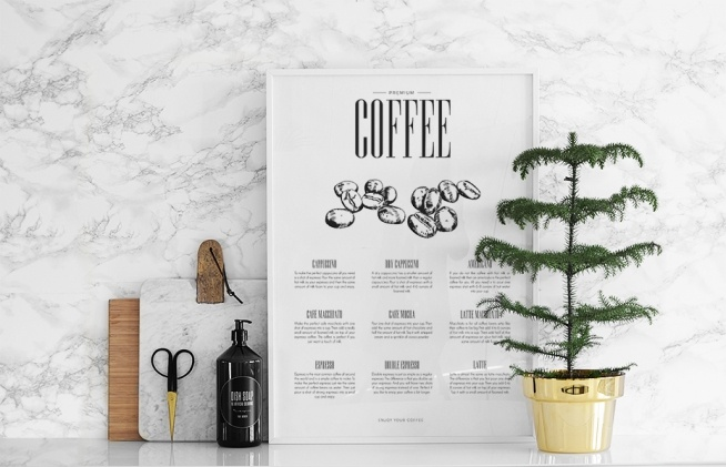 plakat f r die k che ber kaffee poster online kaufen poster. Black Bedroom Furniture Sets. Home Design Ideas