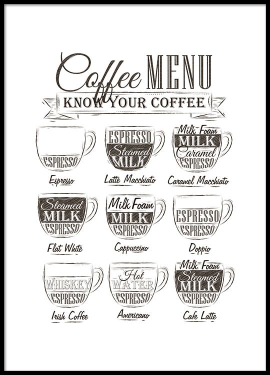 Coffee Menu, Poster