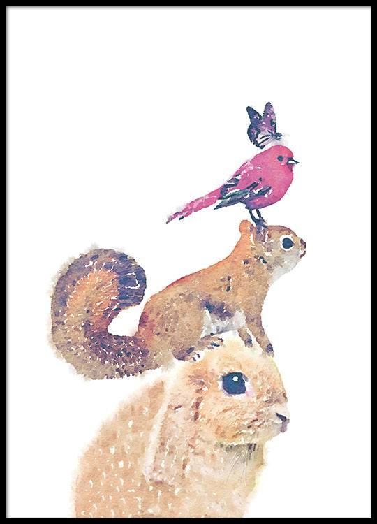 Poster für Kinder mit niedlichen Tieren | Süßes Kinderposter für das ...