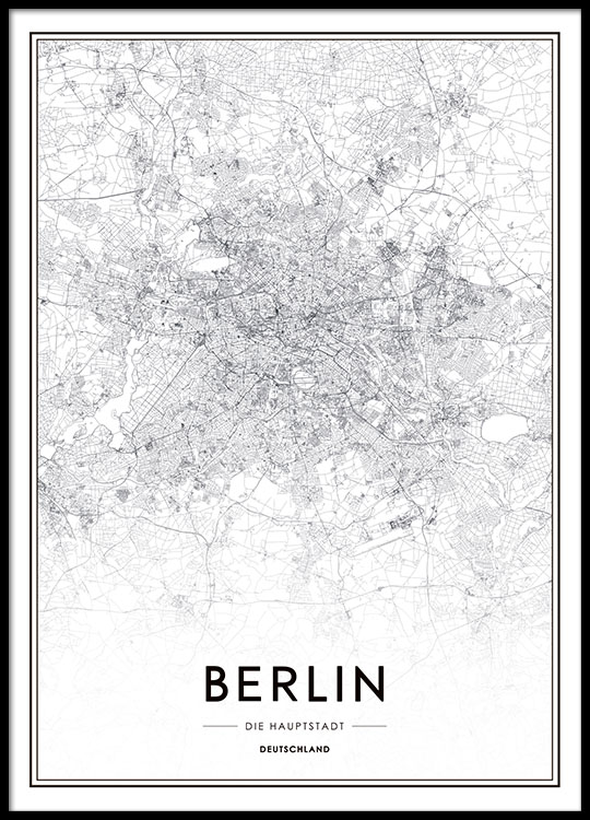 poster mit stadtplan von berlin schwarz wei poster mit. Black Bedroom Furniture Sets. Home Design Ideas