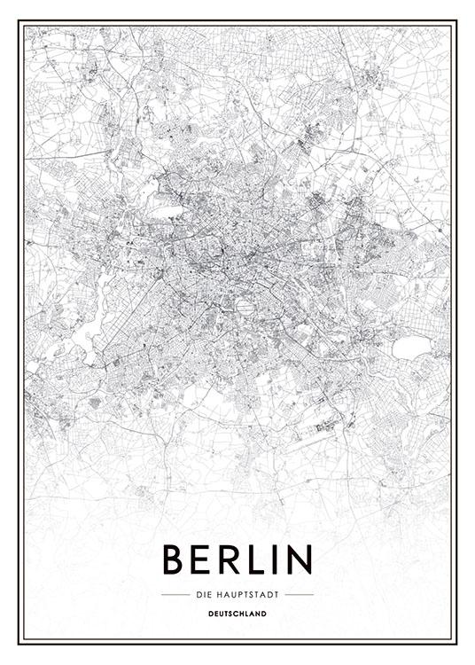 poster mit stadtplan von berlin schwarz wei poster mit st dten und karten. Black Bedroom Furniture Sets. Home Design Ideas