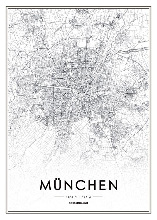 München Karte Schwarz Weiß.München Poster