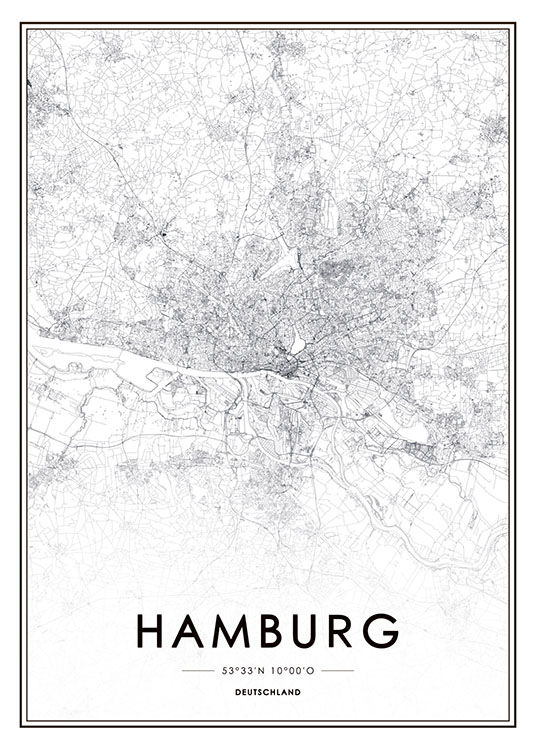 poster mit stadtplan von hamburg moderne trendige. Black Bedroom Furniture Sets. Home Design Ideas