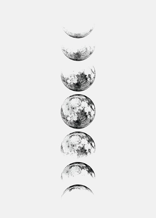 Moon Phase Grey, Poster / Weltall & Astronomie bei Desenio AB (8371)