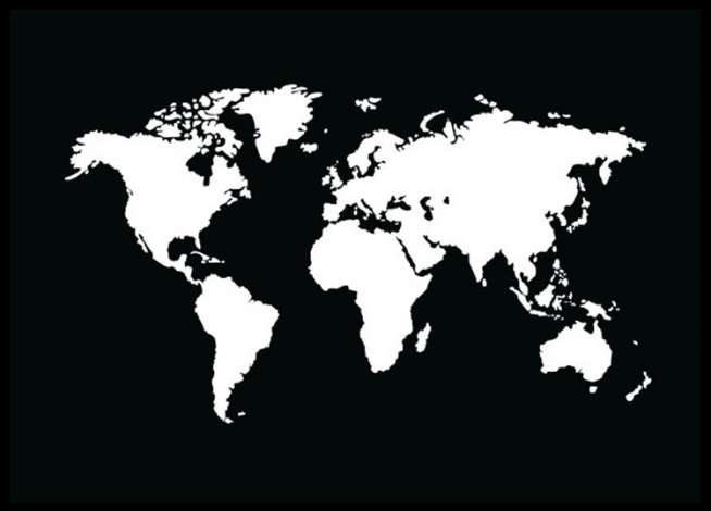 World Map Black, Poster