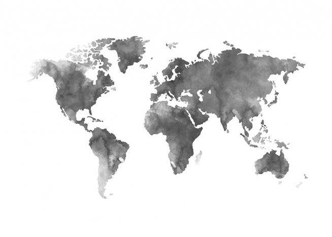 Poster mit grauer Weltkarte, in Aquarell-Technik gemalt, bei Desenio