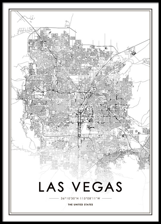 Las Vegas Map Poster on