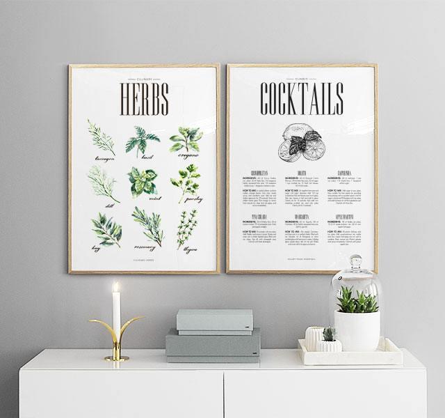 bilderwand und postercollage in der k che poster f r die k che. Black Bedroom Furniture Sets. Home Design Ideas