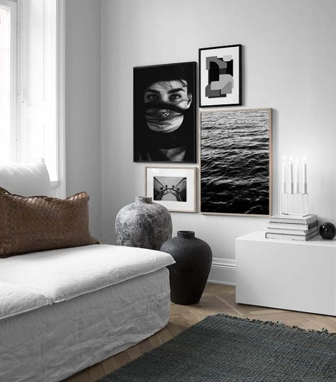 schwarz wei e bilderwand mit poster desenio. Black Bedroom Furniture Sets. Home Design Ideas