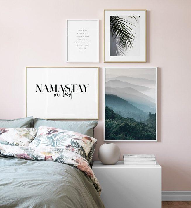 Poster Fur Schlafzimmer #17: Bilderwand Im Schlafzimmer. Gestaltungsbeispiele Für Poster Im, Schlafzimmer