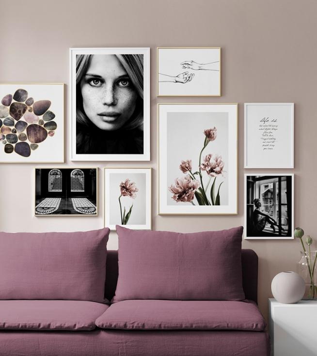 bilderwand im wohnzimmer gestalten sie im wohnzimmer. Black Bedroom Furniture Sets. Home Design Ideas