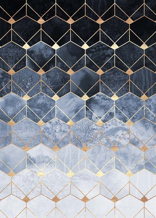 Blue Hexagons And Diamonds Poster / Kunstdrucke bei Desenio AB (pre0018)