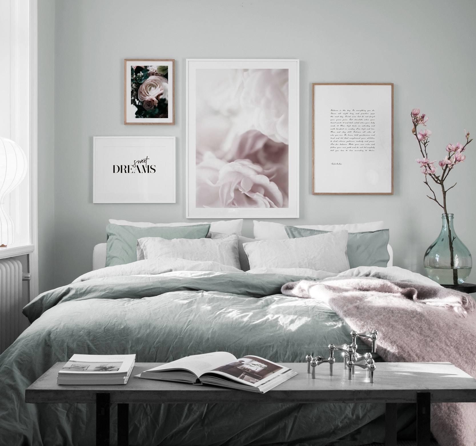 design inspiration und poster bilderwand im schlafzimmer desenio. Black Bedroom Furniture Sets. Home Design Ideas