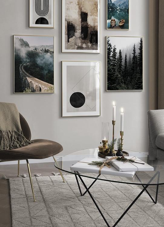 Inspiration für schöne Wohnzimmer Bilderwand mit Postern ...